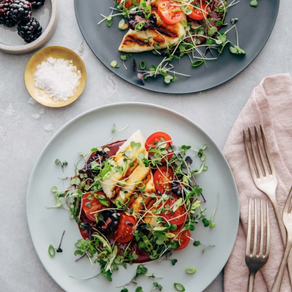 Grilled Halloumi Salad with Blackberry Dressing recipe image